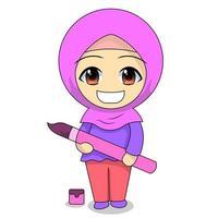 Cartoon Muslim girl coloring vector