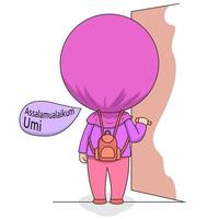 Cartoon Muslim girl returning home vector