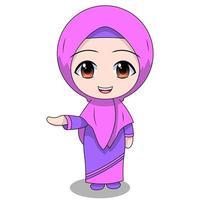 Cartoon Muslim Girl smiling vector