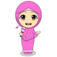 Cartoon Muslim Girl singing vector