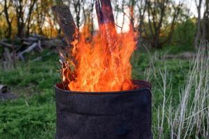 burning garbage barrel photo