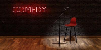 escenario con micrófono y taburete con lámpara de neón roja con la palabra comedia espacio para texto foto