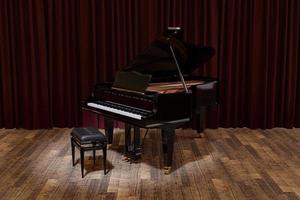 piano de cola en el escenario de la sala de conciertos foto