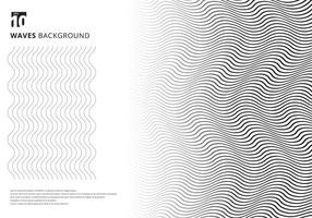 Abstract template black wavy stripes curved ripple lines texture on white background with copy space. Modern trendy 3D curves. vector
