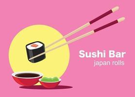 Sushi Japanese food  Poster of Sushi Restaurant vector illustration