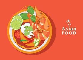 Tom Yum Kung Thai spicy soup vector thai food