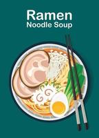 chinese soup with noodles Japanese ramen noodle vector illustration