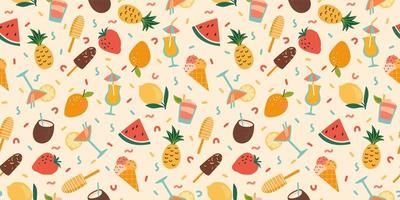 Vector seamless pattern with summer cocktails  ice cream and fruits