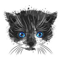 cute kitten on a white background is suitable for printing vector