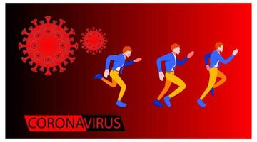 Coronavirus banner for awareness alert to the spread of disease people running and background microscopic view of the virus vector