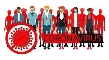 coronavirus illustration people wear masks vector
