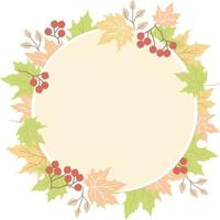 Round frame made of autumn leaves vector