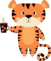 tigre molesto triste se encuentra con una taza de café vector