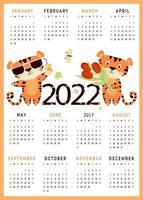 2022 Childrens calendar 2022 with cute animals  12 months calendar vertical template vector