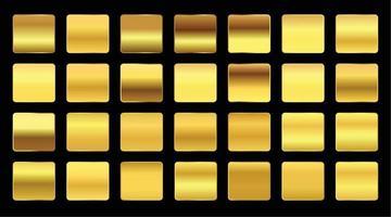 Yellow gold gradients swatches premium big set vector