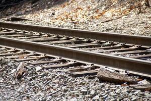 Closeup of rusty iron train tracks photo