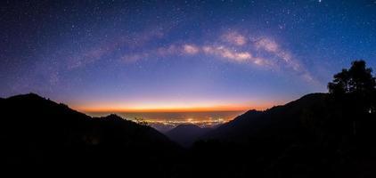 Panoramic Milky way at Doi Ang Khang  Chiang Mai photo