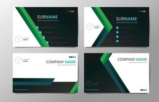 Set of Geometric Green Abstract Shape Business Card Concept vector