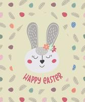Felices Pascuas. tarjeta de felicitación con conejito de pascua. el conejo de Pascua. ilustración vectorial. diseño de pascua, impresión, postales, pegatinas, invitaciones vector