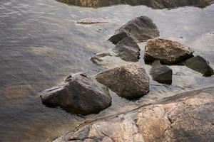 Reflection of the sky in the water on the rocky shore photo