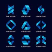 Gradient Blue Ribbon Logo Element Collection vector