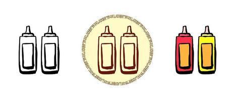 color de contorno y símbolos retro de salsas vector