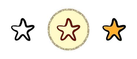 Outline color and retro symbols of star favorites vector