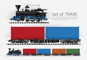 Cargo train on a rail road set vector