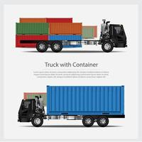 Transporte de camiones de carga con conjunto de contenedores. vector