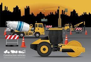 Vehículos de construcción con ilustración de vector de fondo de construcción