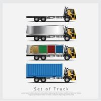 Set of Cargo Trucks Transportation with Containers vector