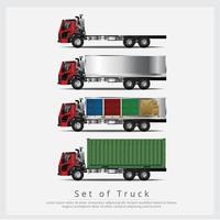 Conjunto de transporte de camiones de carga con contenedores. vector