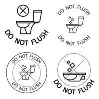 Do Not Flush Toilet No Trash vector