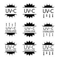 UV Sterilizer Disinfection Stamp Sanitation Device Information Sign vector