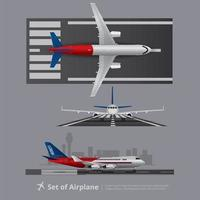 Cargo ship Airplane Isolated Vector Illustration set