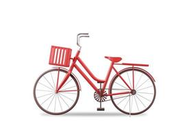 Realistic women bike 3D rendering classic style red color isolated on white background with clipping path photo