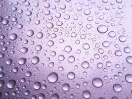 gota de rocío de lluvia sobre un fondo de color púrpura foto