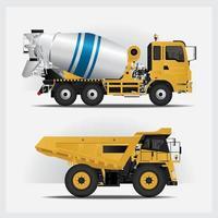 Construction Vehicles Vector Illustration set