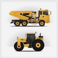 conjunto de ilustración de vector de vehículos de construcción