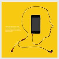 Conceptual Earphones with Smartphone vector illustration