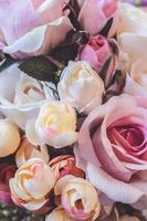 Close up of artificial flowers floral background photo