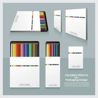 Color Pencils with Packaging Design Realistic set vector