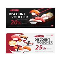 Japanese Food Voucher Discount Template Vector illustration set