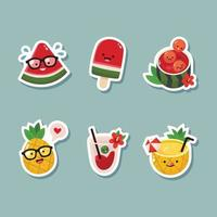 Set of Cute Watermelon And Pineapple Sticker vector