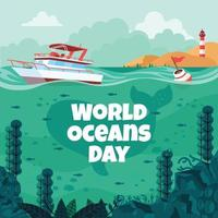 World Oceans Day With Yacht and Underwater Coral Reefs Scenery Concept vector