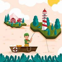 Boyscout Fishing On His Boat Concept vector