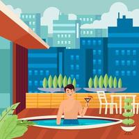 Man Holding Drink Stand At His Swimming Pool Concept vector