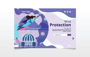 Flying Super Woman Fights Corona Virus Concept Landing Page vector