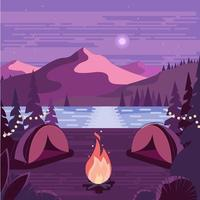 Two Camps Near Fire Wood With Lake View And Mountain Background vector