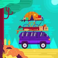 Van With Camping And Outdoor Equipments Concept vector